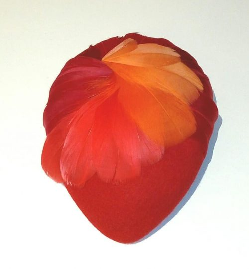 Red feather felt hat